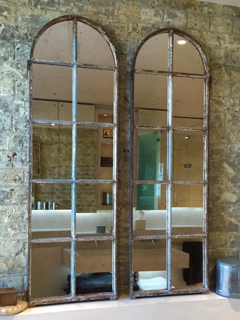 Arched architectural reclaimed window mirrors arched for Window mirrors for sale
