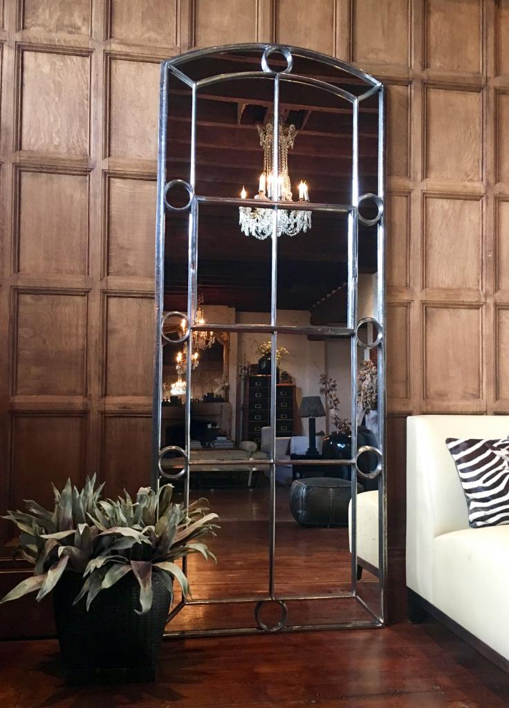 Pair Of Tall Architectural Panelled Window Mirrors Tall