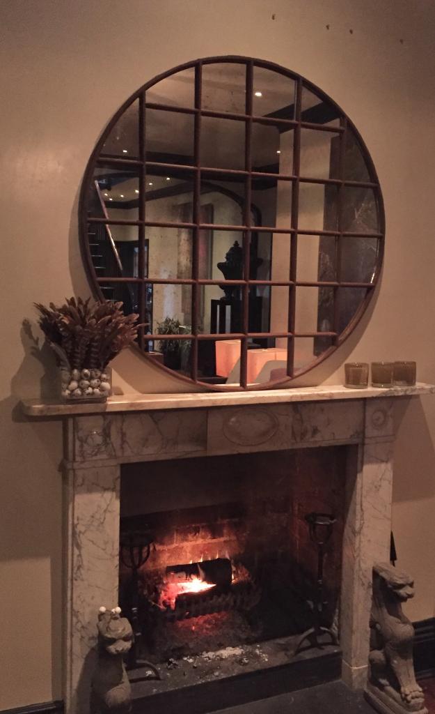 Panelled Industrial Circular Window Mirror Antique Round