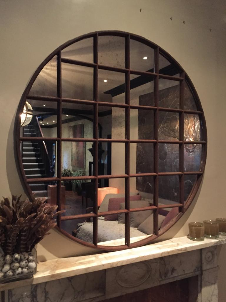 Panelled Industrial Circular Window Mirror Antique Round