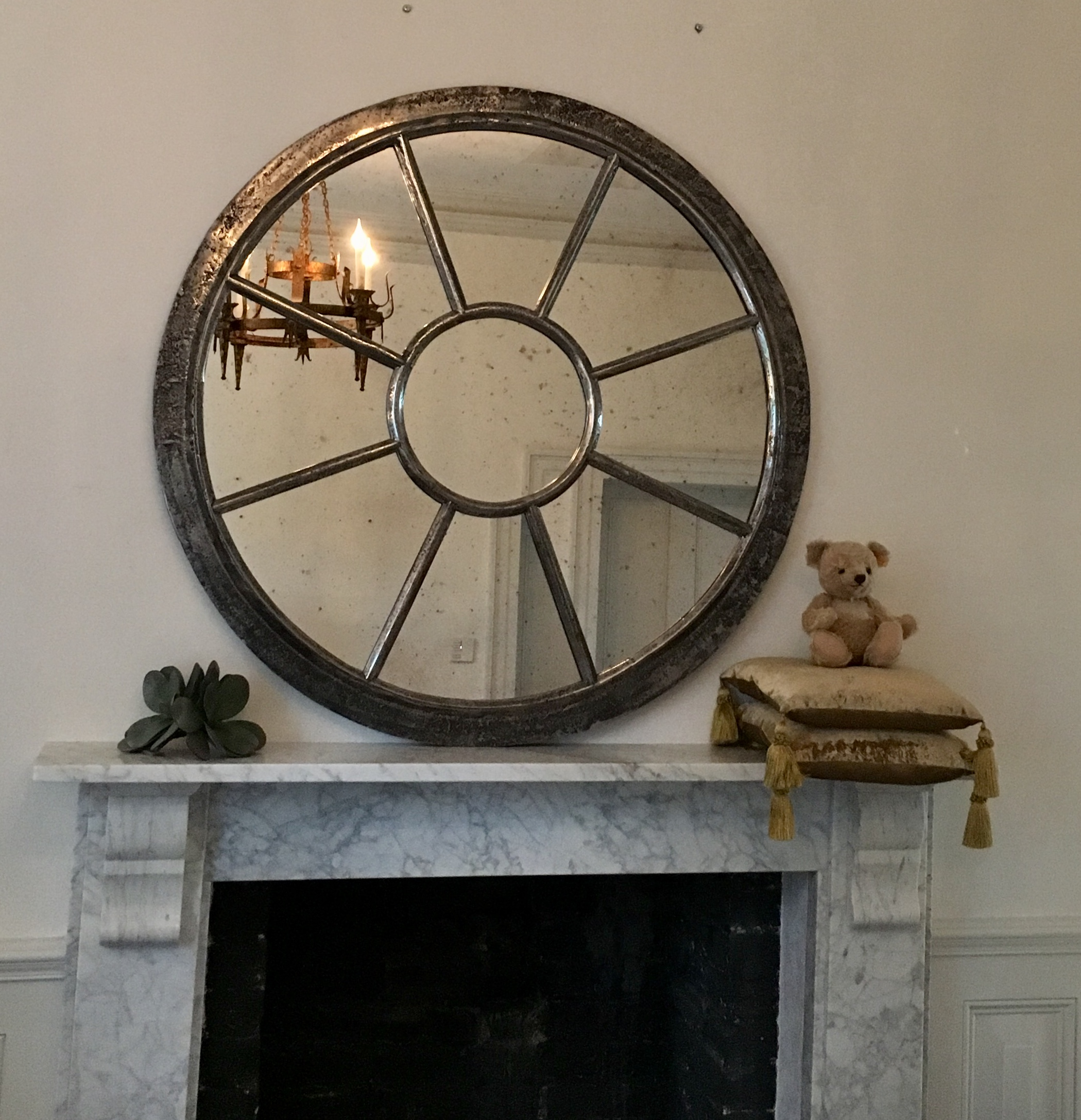 Polished Reclaimed Large Round Window Mirror Polished