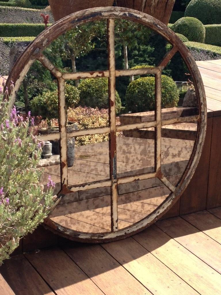 Rare Circular 12 Panel Wrought Iron Window Frame