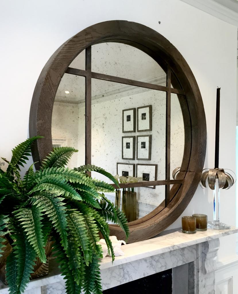 Extra Large Reclaimed Oak Circular Window Mirror Reclaimed