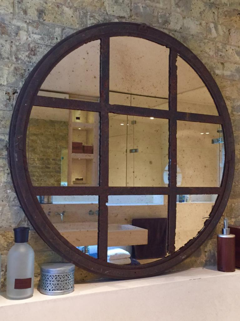 Reclaimed Rustic Circular Window Mirror Reclaimed Antique