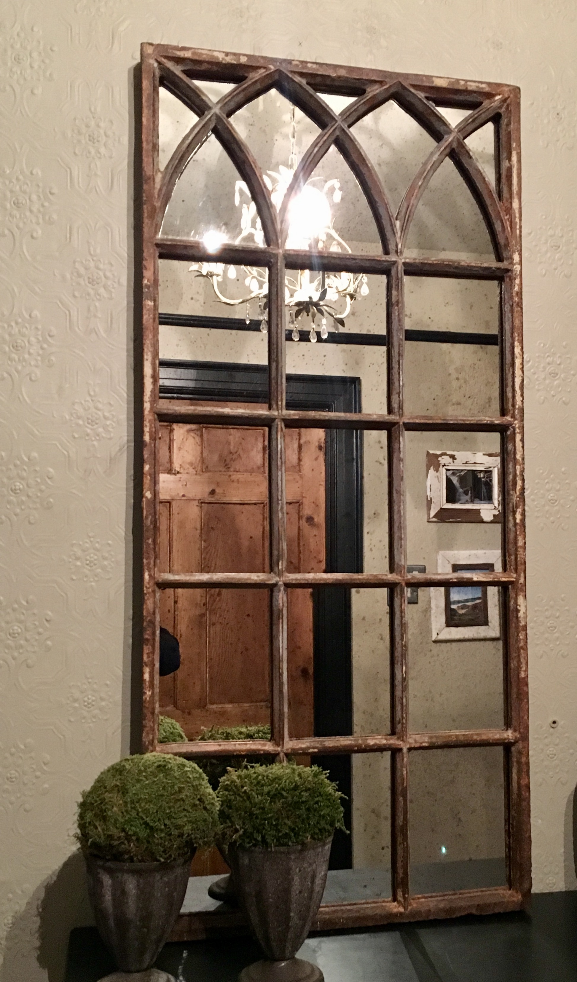 Rustic Reclaimed Small Decorative Mirror Panel Rustic