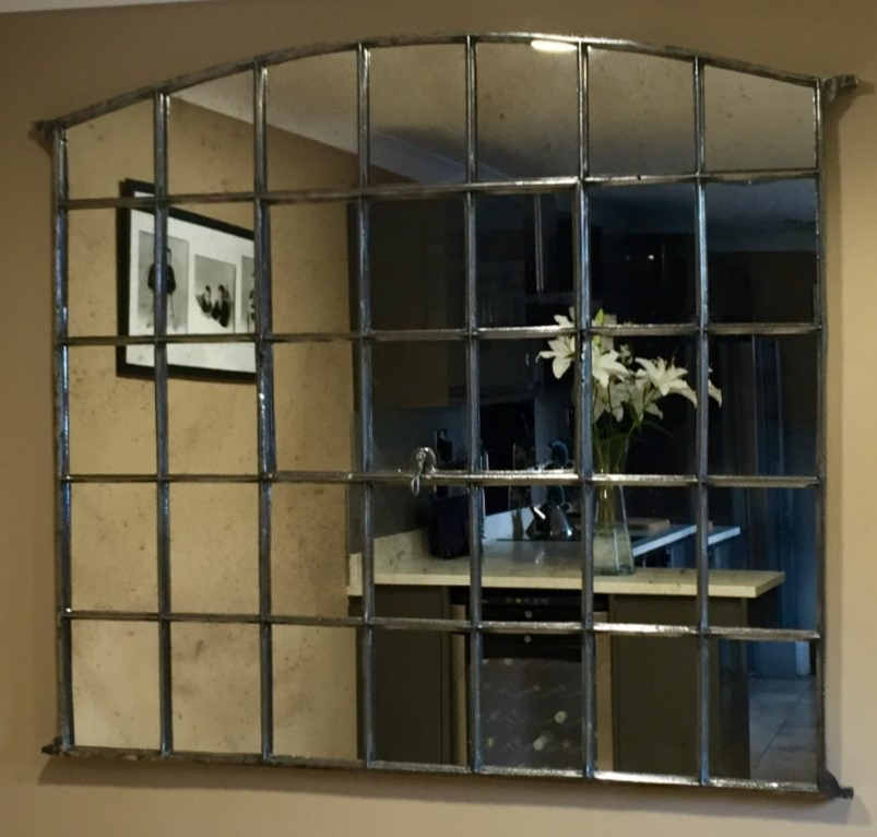 Slow arch industrial polished window mirror industrial for Industrial windows for homes