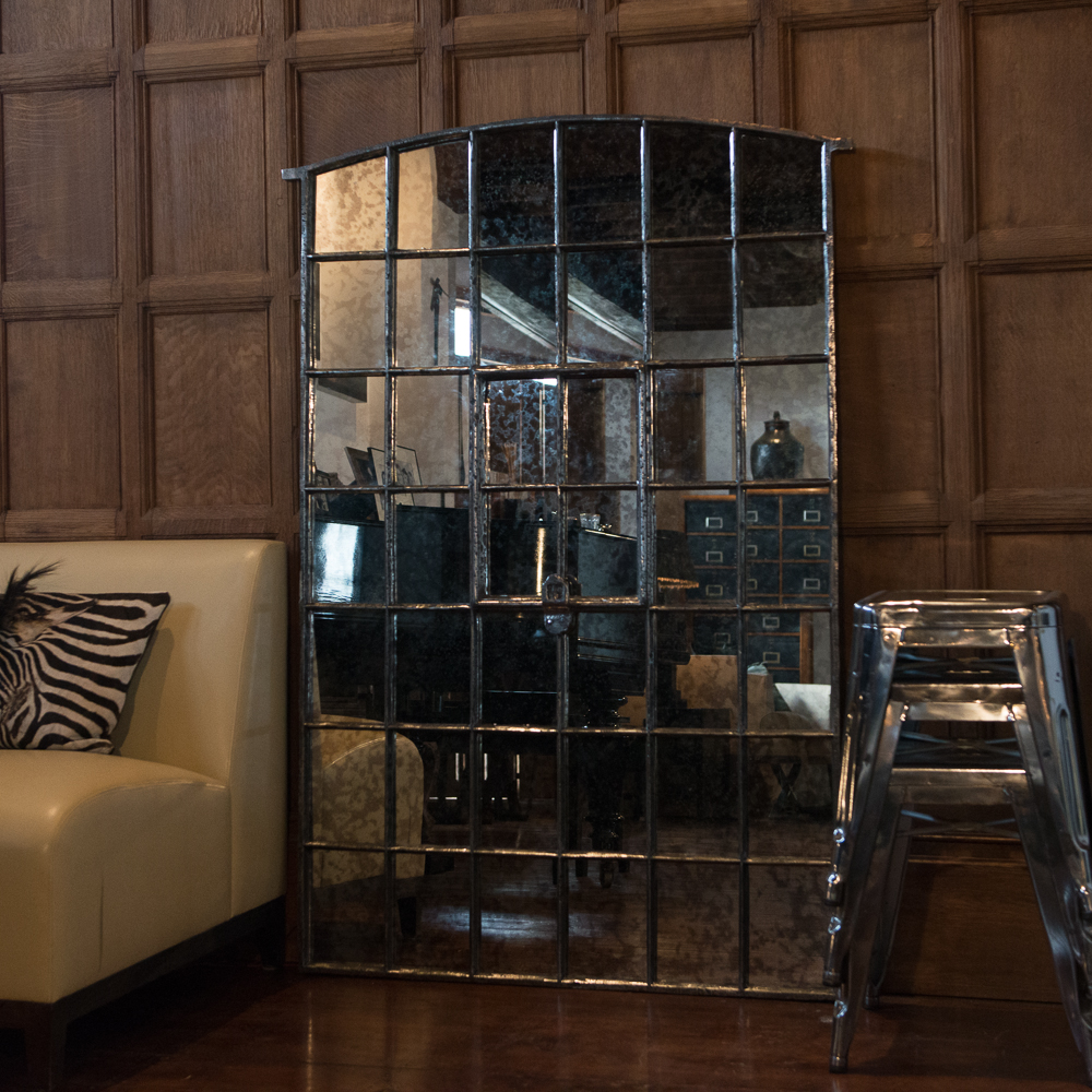 Tall Ex Farm Grain Holding Cast Iron Window Frame Mirror