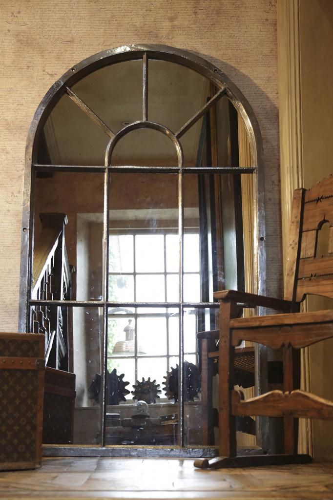 Tall Arch Cast Iron Window Frame Mirror