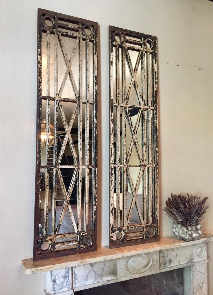 Unique Antique Reclaimed Pair Of Window Mirrors Pair