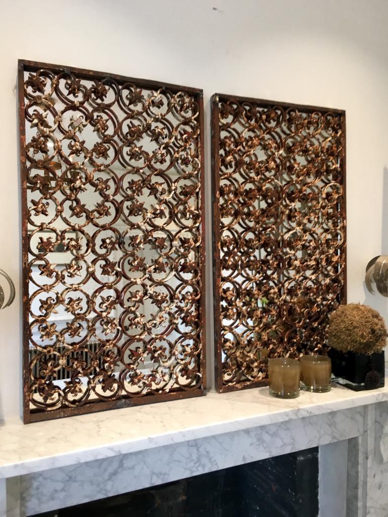 Victorian Decorative Ironwork Mirror Panels Victorian